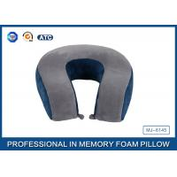 Quality Comfort Automotive / Plane Poly Jersey Inner Memory Foam Travel Neck Pillow With Button for sale