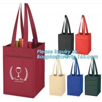 China laminated non woven 6 bottle wine tote shopping bag, Custom Promotional wine shopping tote fabric polypropylene laminate on sale