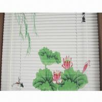 Printed Aluminum Blinds, 2.5cm Slat in White, Various Patterns are Available/Rollover/Folding Freely