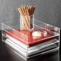 Clear desk top Acrylic Storage Boxes , 2 tier acrylic file holder Manufactures