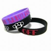 Colorful Silicone Wristband with Silk Screen Printing Logo, Various Color are Available Manufactures