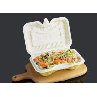 PP Disposable Clamshell Carry Out Food Trays 17.5x12cm White Yellow Color Manufactures