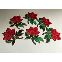 Flower Embroidered Iron On Appliques , Large Red Rose Floral Patches For Clothes Manufactures
