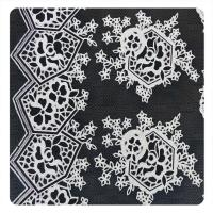China Beautiful Black Floral Polyester Cotton Lace Fabric , Fashion Swiss Lace Fabric on sale