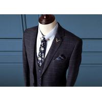 Navy Blue Mens Check Suits / Tweed Suit3 Pieces Flat Pockets Zipper Fly Pant Closure Manufactures