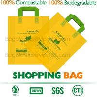 100% Compostable Shopper, Biodegradable handle handy Carrier Eco Bio starch plant Biodegradable T-Shirt Bags With Logo Manufactures