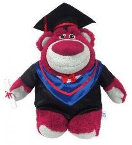 Lotso Graduation Berrybear Disney Plush Toys , Toy Story 3 Lots-O'-Huggin' Bear Disney Cuddly Toys 10 inch Manufactures
