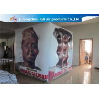 Fireproof White Cube Inflatable Helium Balloons PVC Material Full Digital Printing for sale