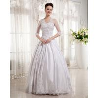 Women Queen Anne Neckline Wedding Dresses Beaded / A line Wedding Gowns with long trains Manufactures