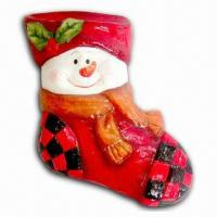 Paper Mache Christmas Sock with Snowman Decoration Manufactures