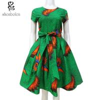Multi Color Fashion African Print Dresses Medium Length Short Sleeve Custom Size Manufactures