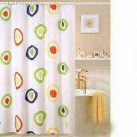 100% Polyester Shower Curtain with Strip or Solid Color and Hooks Manufactures