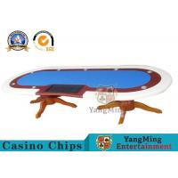 10 Player Deluxe Speed Poker Table Poker Table Custom Cloth With Marble Finish Manufactures