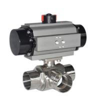China Sanitary SS304,316L,3 Way pneumatic Actuator,L port,T port,butt welded Ball Valve on sale