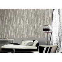 PVC Modern Style Grey And White Wallpaper Feather Design For Sitting Room Manufactures