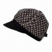 Women's Hat with Metal Buckle at Back, Top Button and Small Peak, Fashionable Design Manufactures