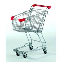China Small Supermarket Shopping Cart  60L Metal Wire Basket Trolley With Wheels on sale