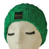 High quality unisex customize logo green winter knitted  hats caps for fashion Manufactures