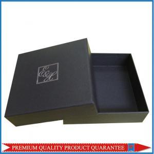 Silver Hot Stamp Logo Print Matte Black Paper Gift Packaging Box Lid & Base Manufactures