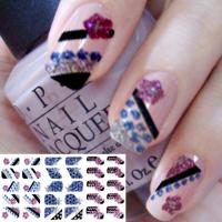 Colorful nail designs Fashion 3D Glitter Full Nail Sticker, Art Decals by EN-71, CA Pro 65 Manufactures