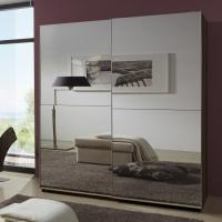 Simple Space Saving Melamine Bedroom Furniture Modern Luxury MDF With Two Full Mirror Manufactures