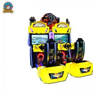 China Yellow Racing Simulator Arcade Machine , Fun Arcade Racing Game Machine on sale