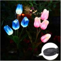 China Outdoor Solar Garden Stake Lights-Solar Powered Lights With Tulip Flowers,Multi-color Changing LED Solar Stake Lights on sale