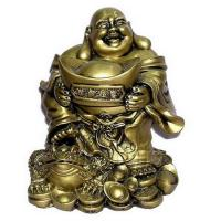 China Laughing Buddha Holding Great Golden Ingot for Wealth Feng Shui on sale