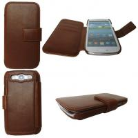 Environment-friendl brown leather protective cases for cell phones Samsung Galaxy S3 I9300 Manufactures