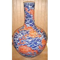 China antique vase (42) Blue wave with red dradon on sale