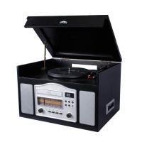 China NOSTALGIA WOODEN MUSIC CENTER Nostalgia Wooden Music Center with Turntable, AM/FM Radio, CD Player, Cassette player and Aux-in function Model:E-6834 on sale