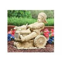 China Polyresin Statues Resin Boy W/Dog on Tractor Statue on sale
