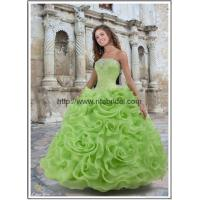 girl prom dress ball gown with satin flowers P-04 Manufactures
