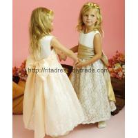 lace flower girl dress with butterfly belt F-11 Manufactures