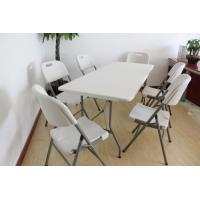 China 6ft fold-in-half trestle table sets on sale