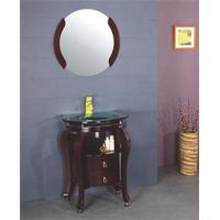 China Solid Wood Bathroom Cabinet Round Mirror Wooden Bathroom Cabinet on sale