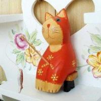 Handcraft Wood Fishing Cat Collectibles Figurines Manufactures