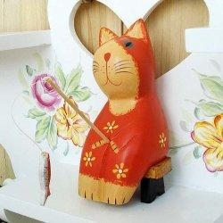 China Handcraft Wood Fishing Cat Collectibles Figurines