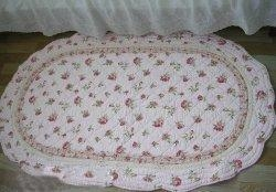 China Shabby and Vintage Oval Pink Rose Quilted Rug/mat