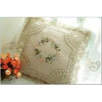 China Handmade Ribbon Embroidery Flowers cushion cover A on sale