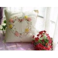 China Handmade Ribbon Embroidery Flowers Linen cushion cover on sale