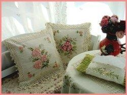China Vintage Hand Ribbon Embroidered/Crochet cushion cover C