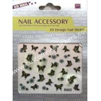 Buy cheap Butterfly pattern Black + Blue + Yellow colored 2d nail stickers for Nail Art decoration from wholesalers