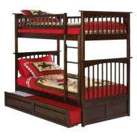 China Columbia Twin Over Twin Bunk Bed with Trundle Bed - Antique Walnut on sale
