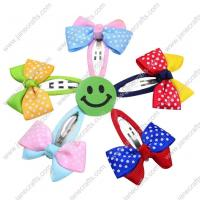 2 Assorted Color Two Tone Swiss Dot Ribbon Bow with Ribbon Covered Snap 10pcs Manufactures