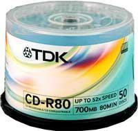 TDK CD-R 52x 50 Discs in Spindle Tub (700Mb/80Min) Manufactures