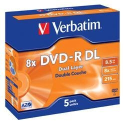 Quality VERBATIM DVD-R 8x DUAL LAYER (43596) 5 Discs in Jewel Cases (8.5Gb/215Min) for sale