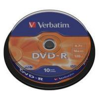 VERBATIM DVD-R 16x (43523) 10 Discs in Spindle Tub (4.7Gb/120Min) Manufactures