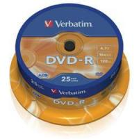 VERBATIM DVD-R 16x (43522) 25 Discs in Spindle Tub (4.7Gb/120Min) Manufactures
