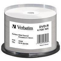 VERBATIM DVD-R 16x THERMAL PRINTABLE (43755) 50 Discs in Spindle Tub (4.7Gb/120Min) Manufactures